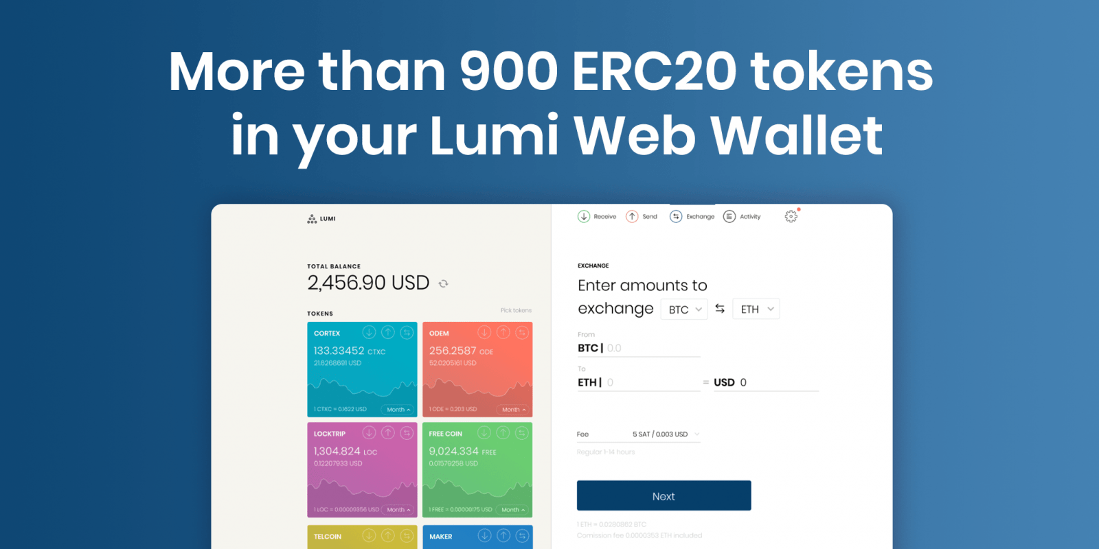 bull, sell, exchange tokens in lumi wallet