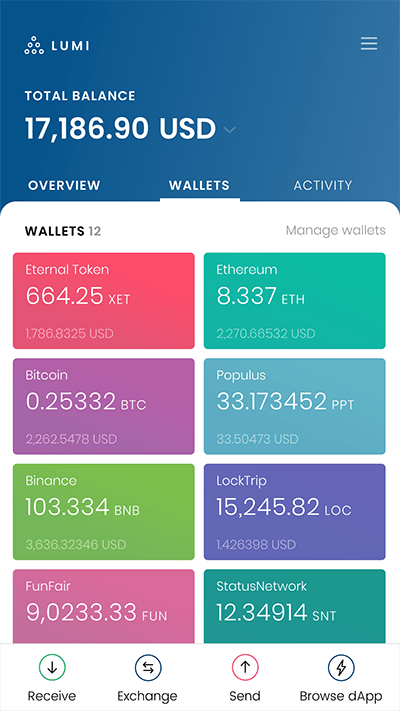 Lumi Wallet XET wallet screen