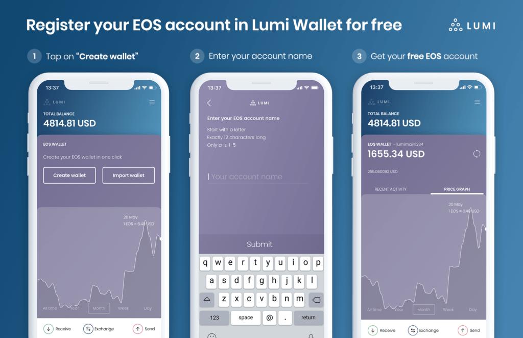 free eos account in lumi wallet